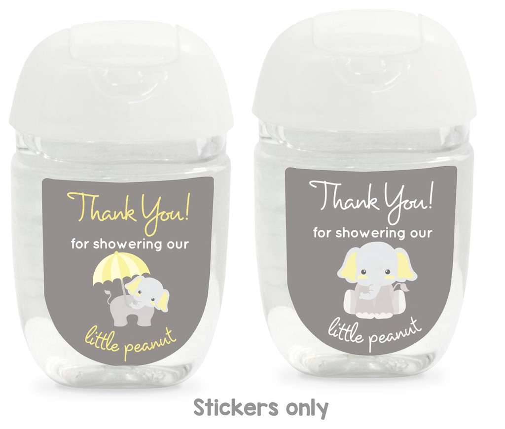 Hand sanitizer baby shower favor labels