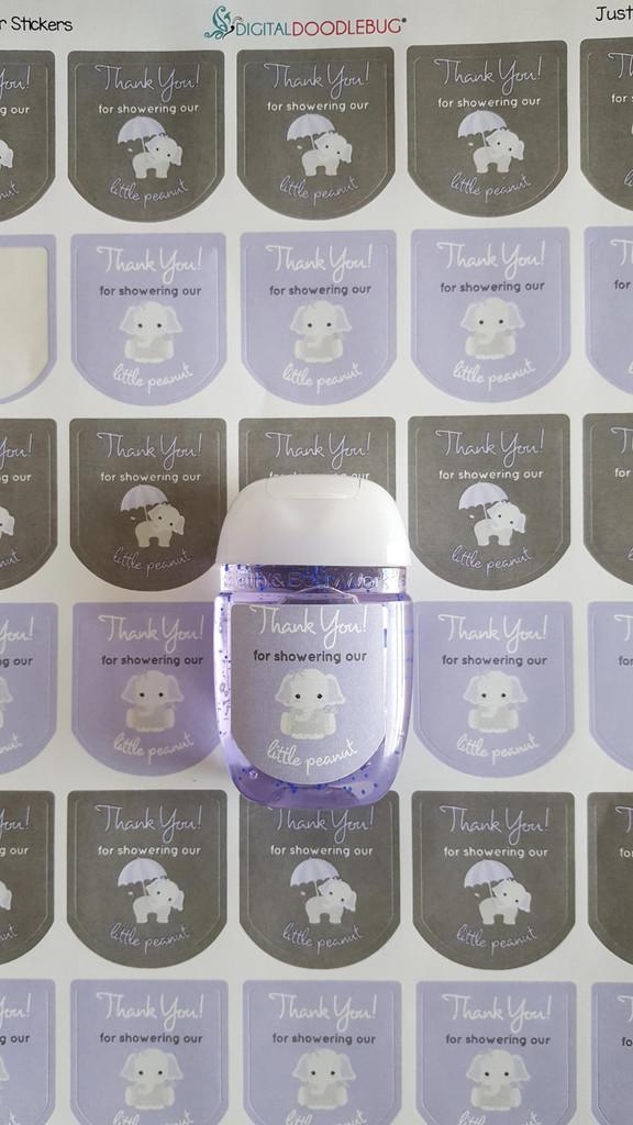 Hand Sanitizer labels purple elephant 30 stickers