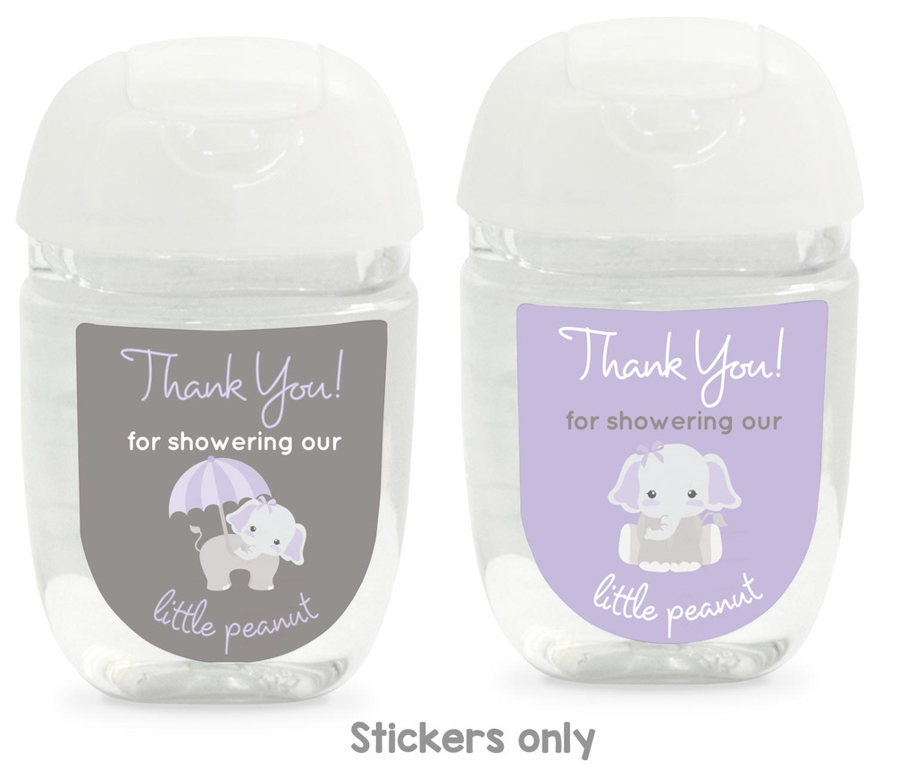 Girls baby shower favors hand sanitizer labels