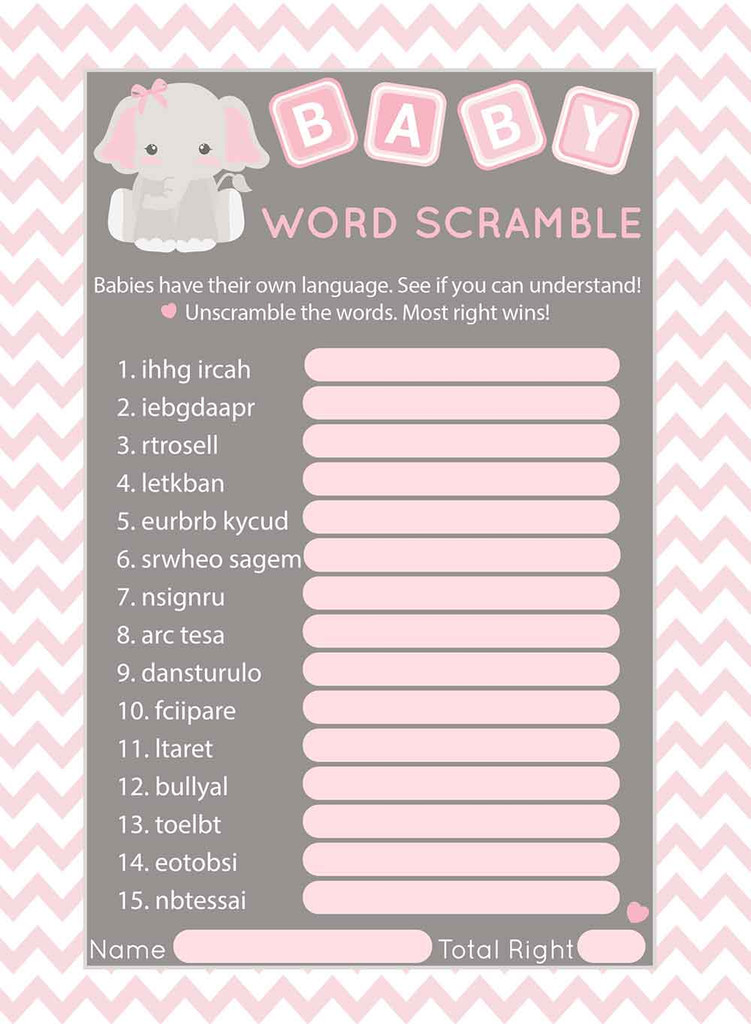 Word Scramble baby shower game set of 25 Pink Elephant