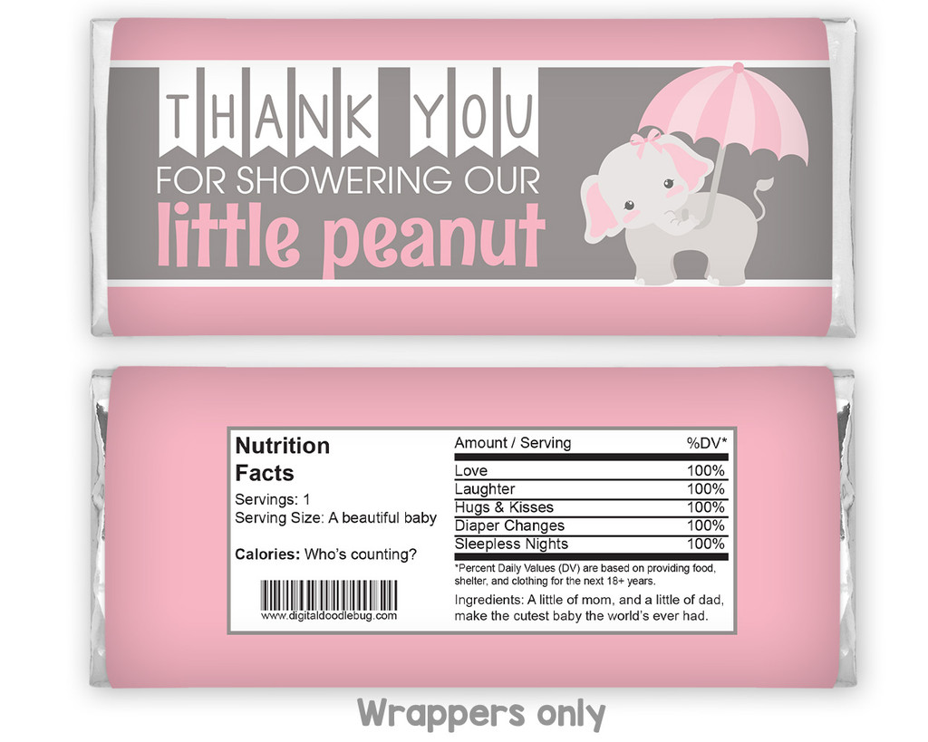 Pink elephant candy bar wrappers baby shower favors for girl