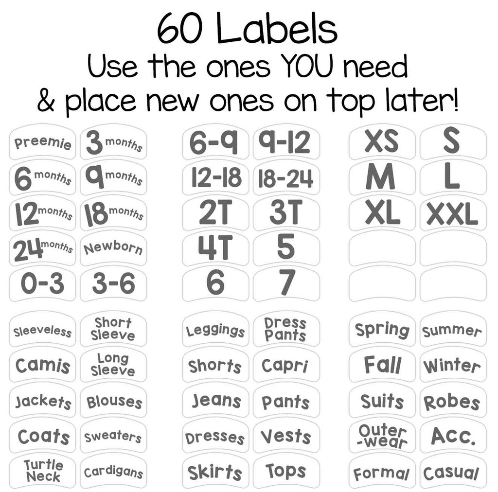 56 pre-printed sorting labels to organize by size or clothing type