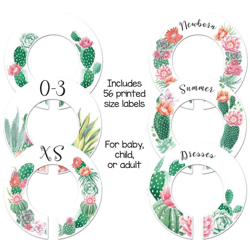 Western cactus theme closet dividers for organizing baby, child, or adult closet