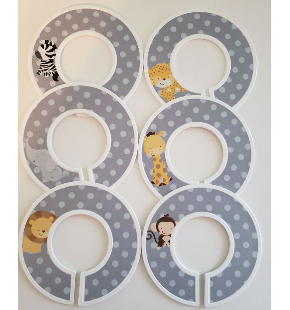 Safari animals theme closet dividers for organizing your baby nursery or a gender neutral gift.