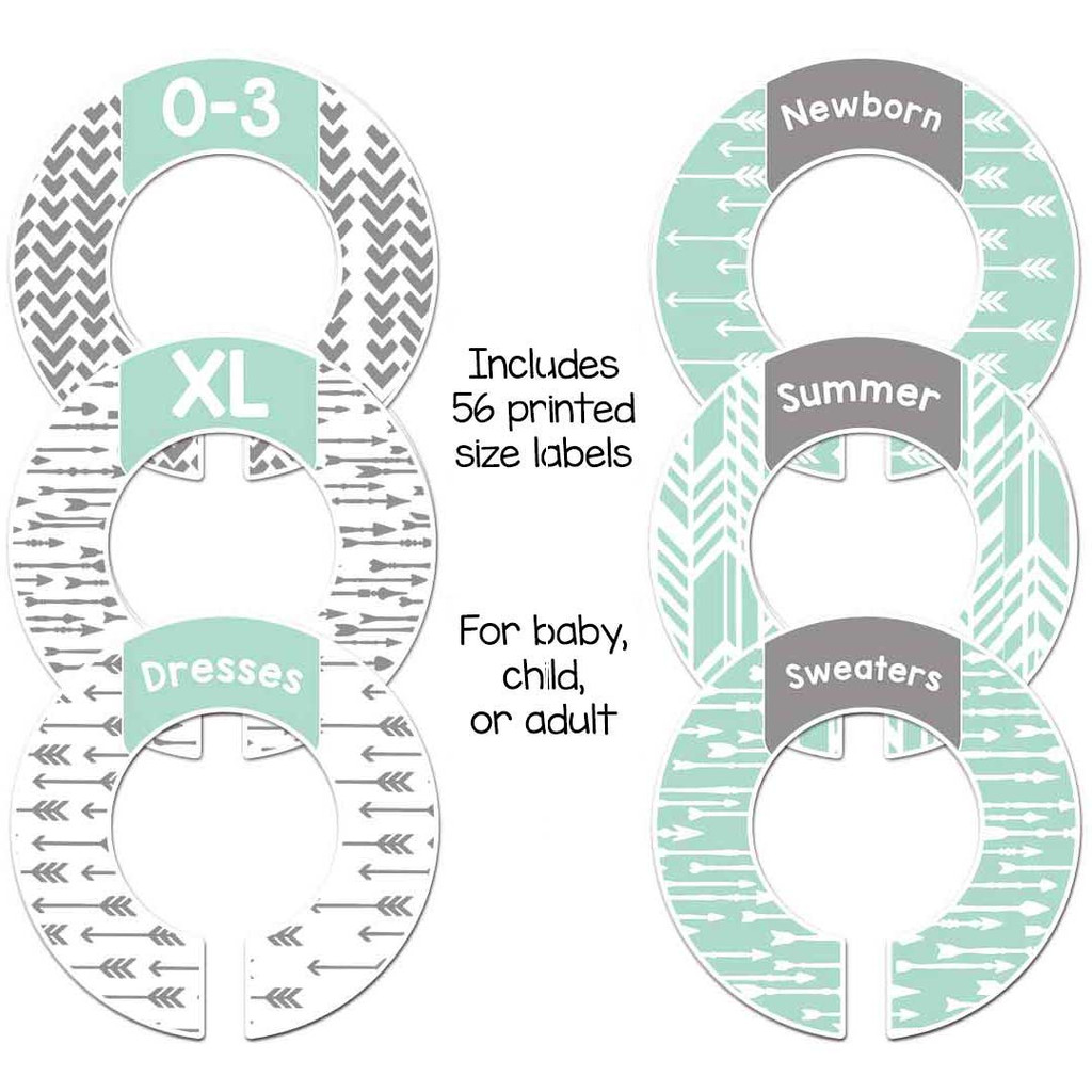Mint and gray arrows closet dividers for organizing your baby nursery or a gender neutral gift.