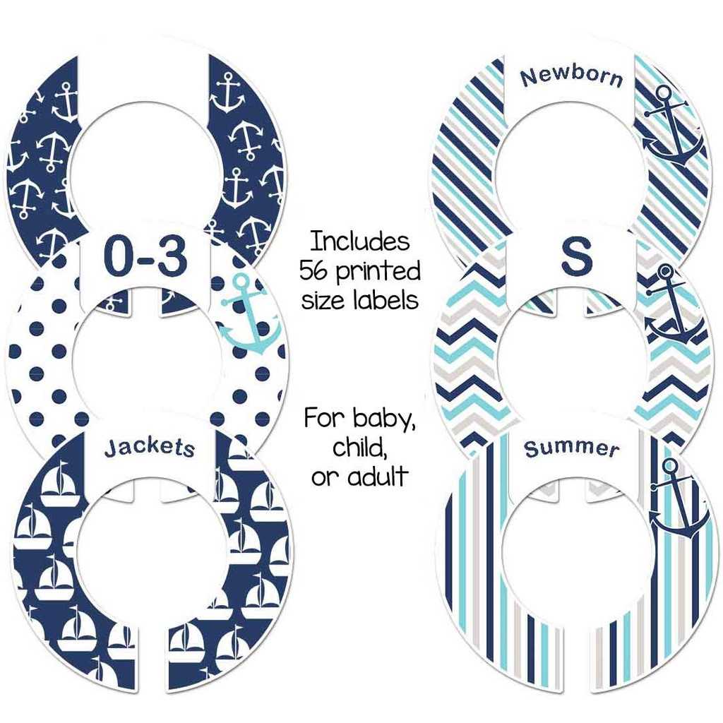 Navy and blue nautical anchors closet dividers for organizing your baby boy nursery.