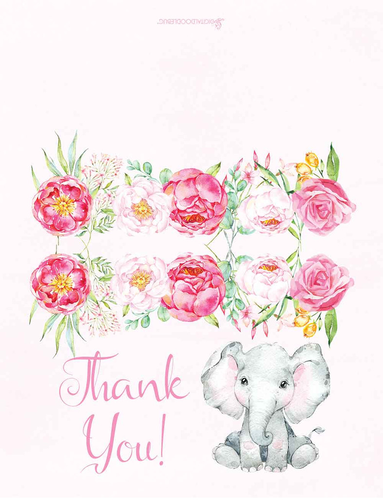 Pink elephant floral thank you cards for girls baby shower