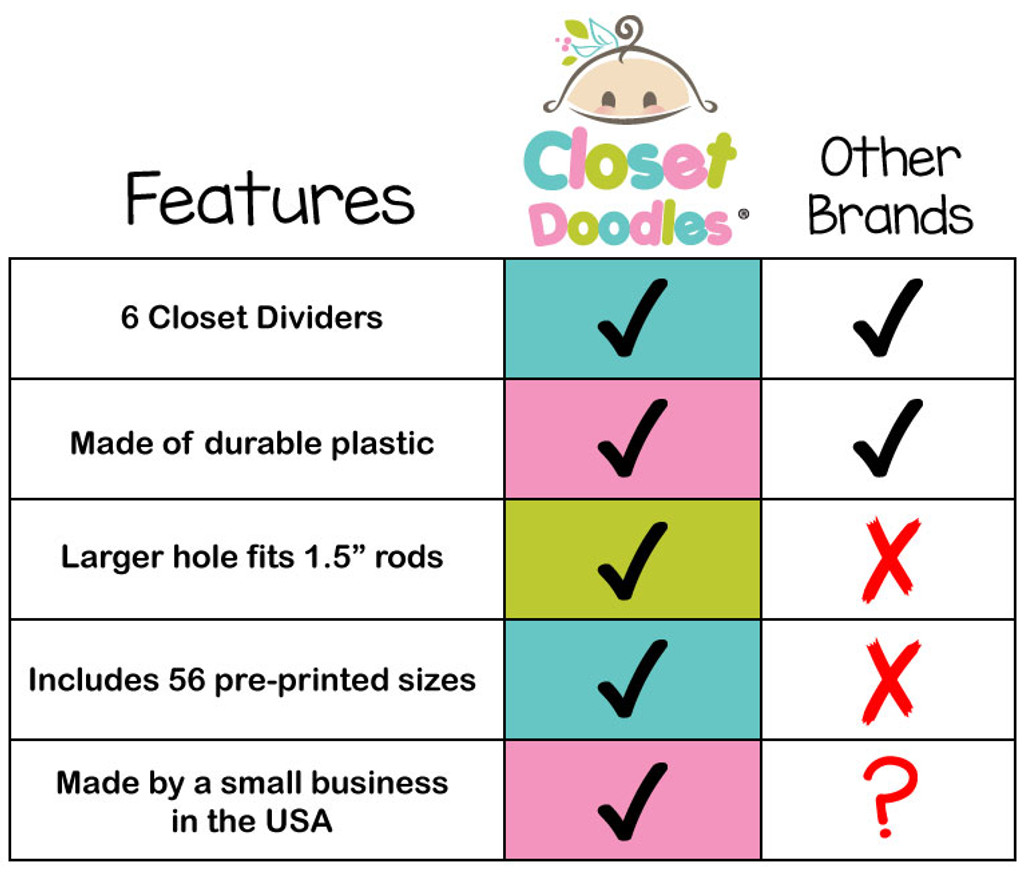 Closet Doodles clothing dividers offer superior quality and many options.