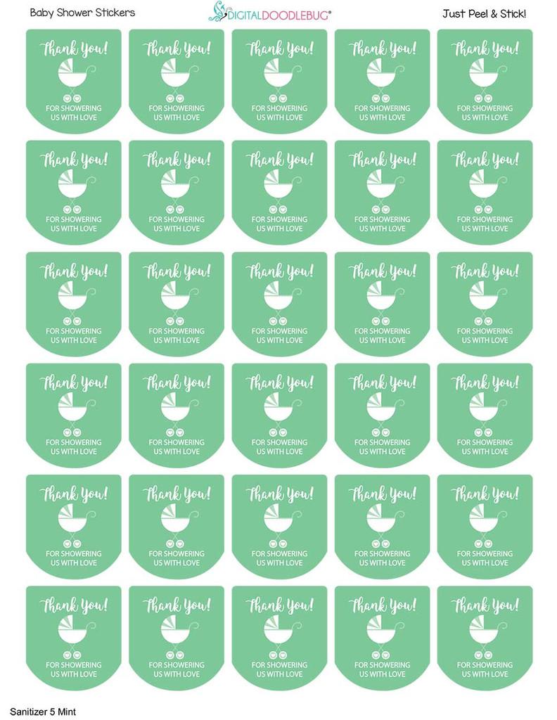 Baby shower favor labels mint boy or girl