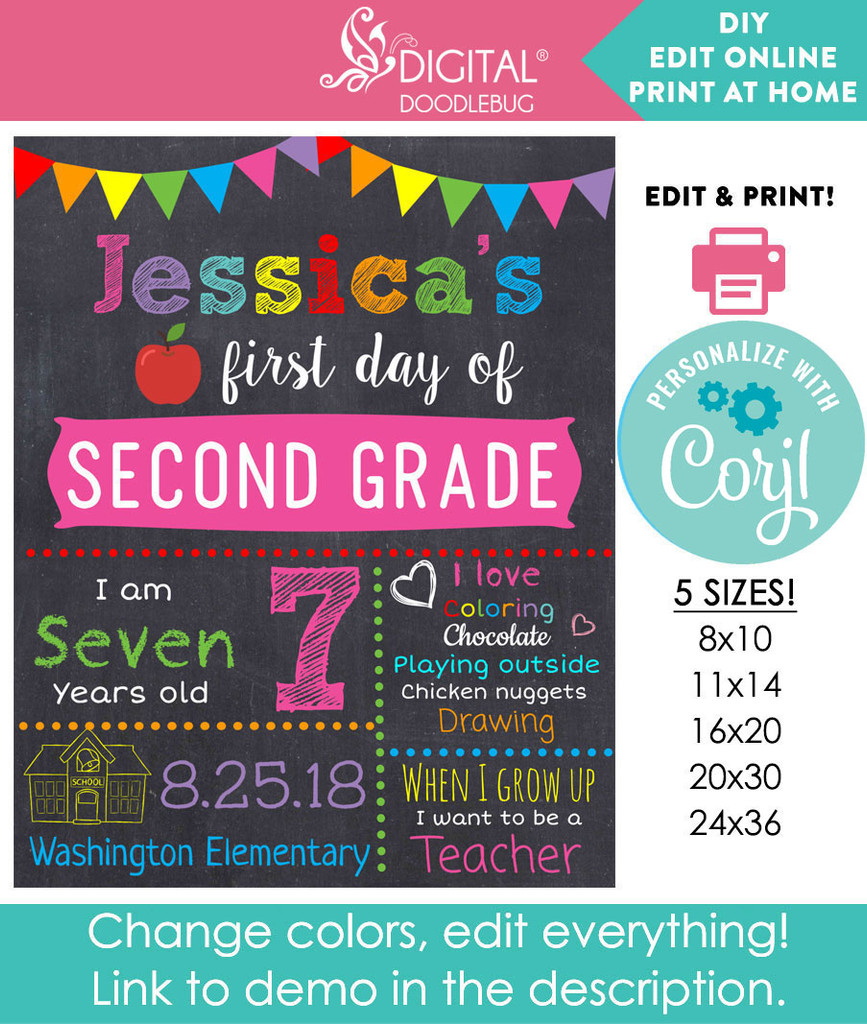 Back to school DIY printable sign for girls