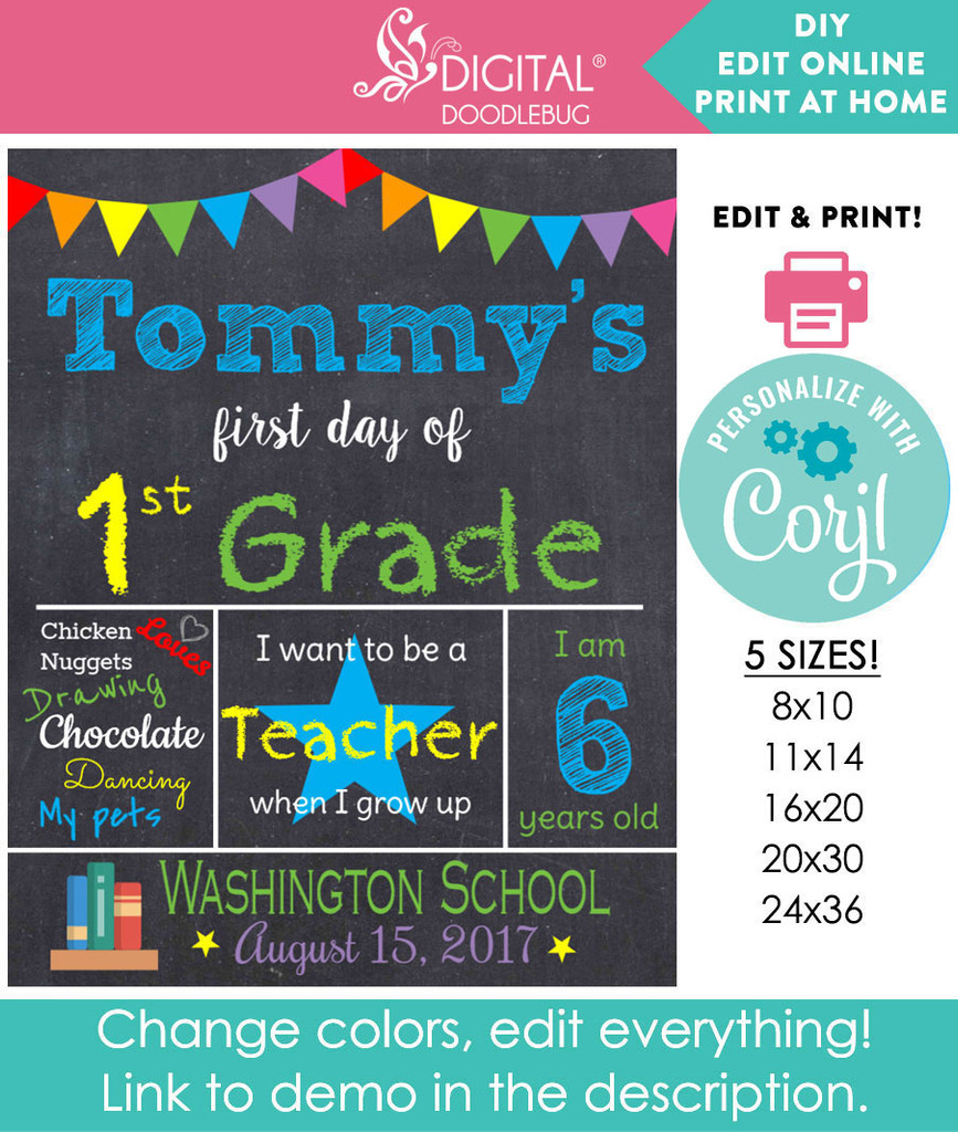 First day of school printable poster for boys