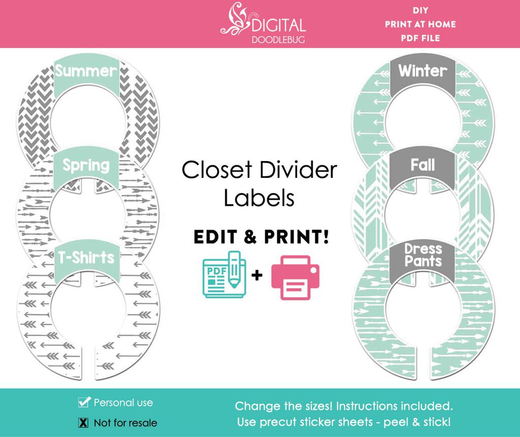 Mint & Gray Arrows Printable Closet Dividers