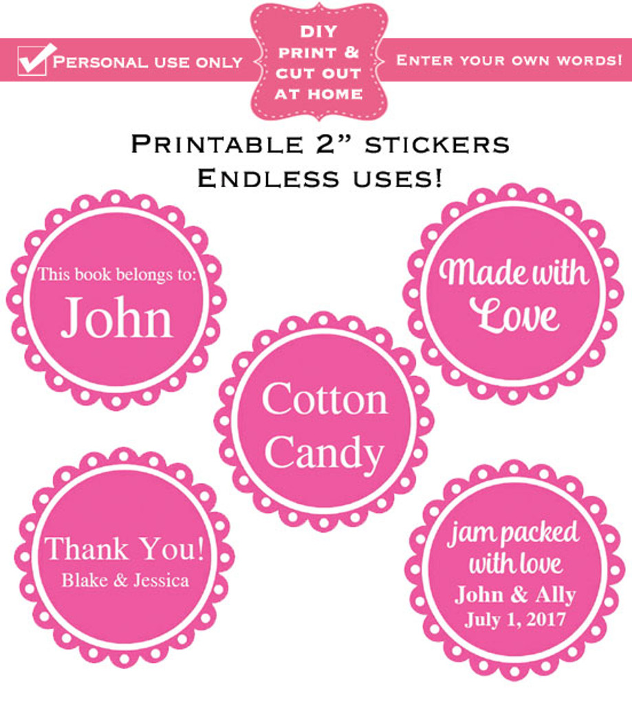 """2"""" labels printable sticker template PDF girl colors"""