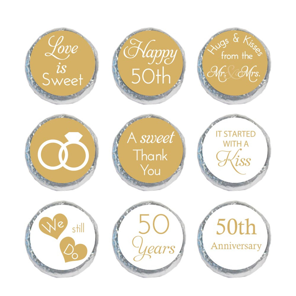 50th anniversary mini candy stickers for DIY favors