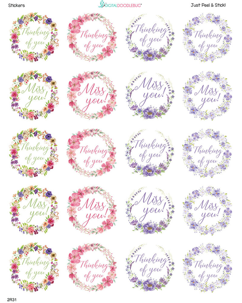 2 Inch Miss You labels 20 stickers