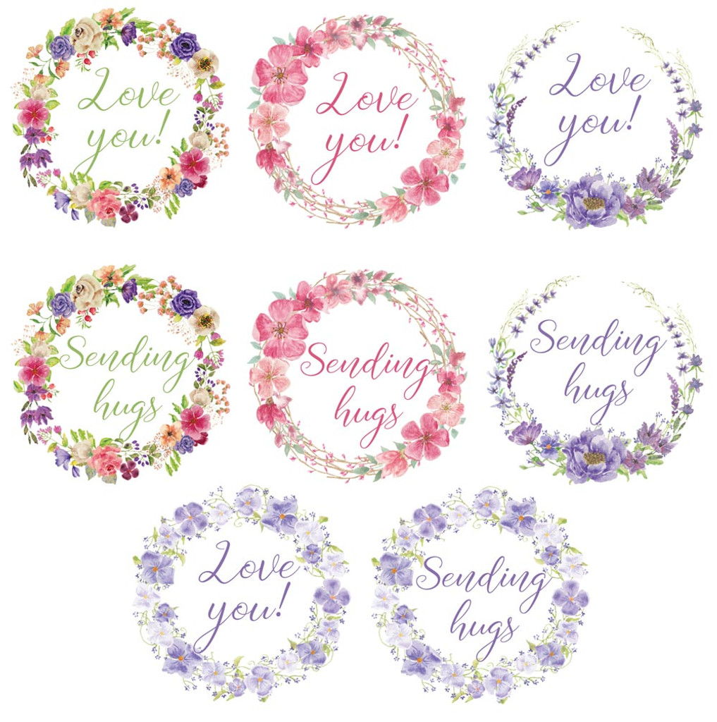 Love you and sending hugs stickers for sealing card envelopes