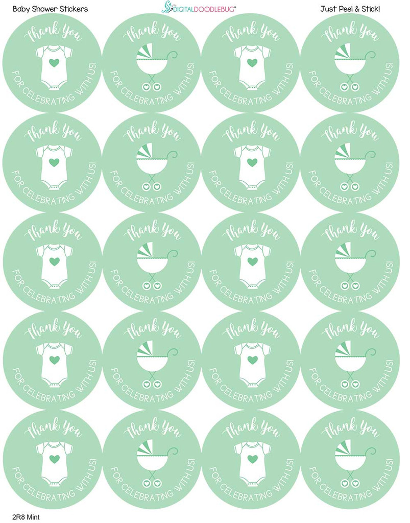 2 Inch Thank You stickers mint stroller 20 labels
