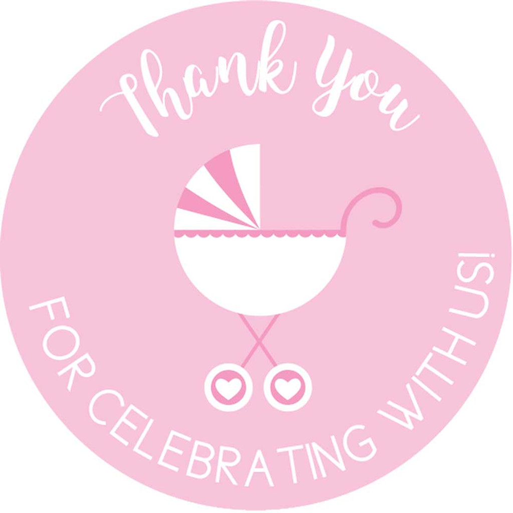 Thank you for celebrating with us DIY pink girls baby shower favors