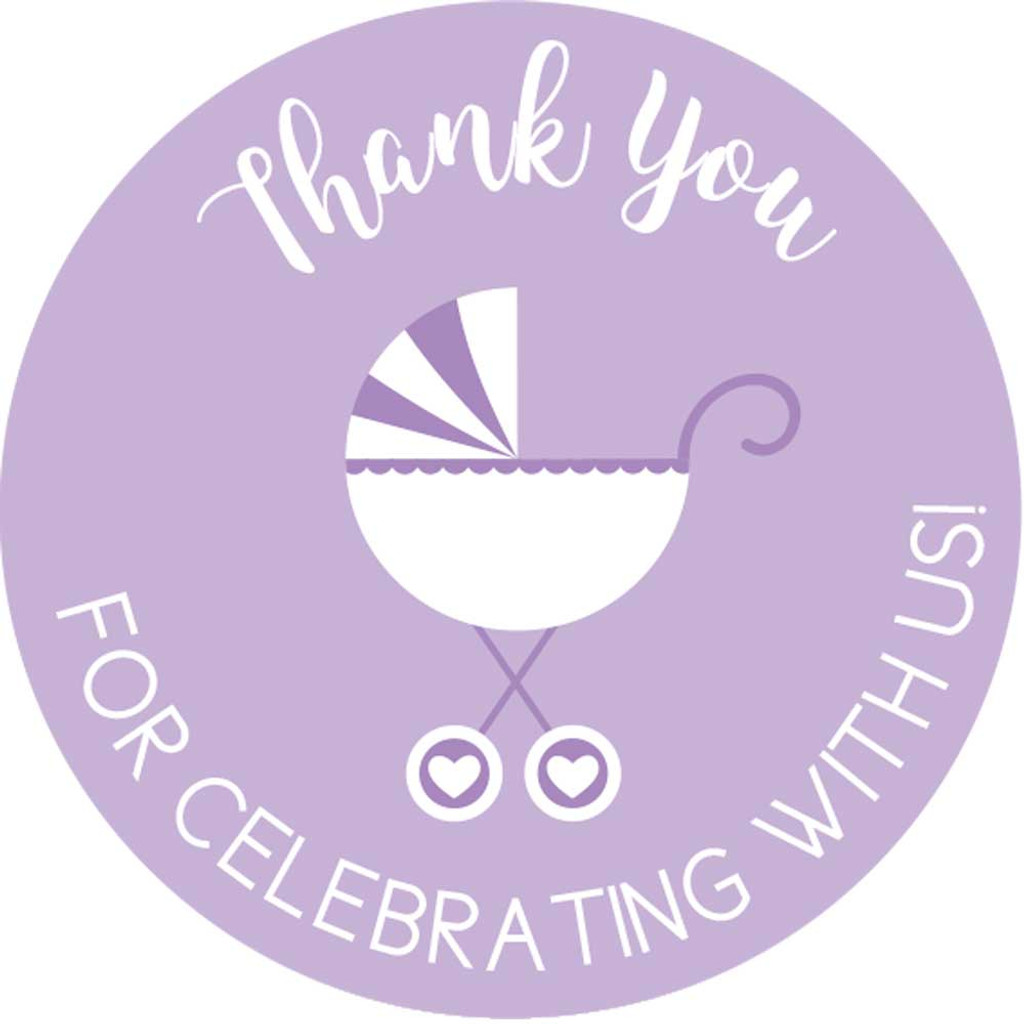 Thank you for celebrating with us DIY purple girls baby shower favors