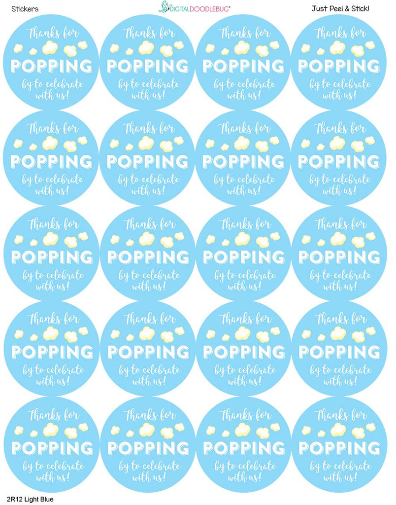 2 inch stickers precut on the sheet in light blue
