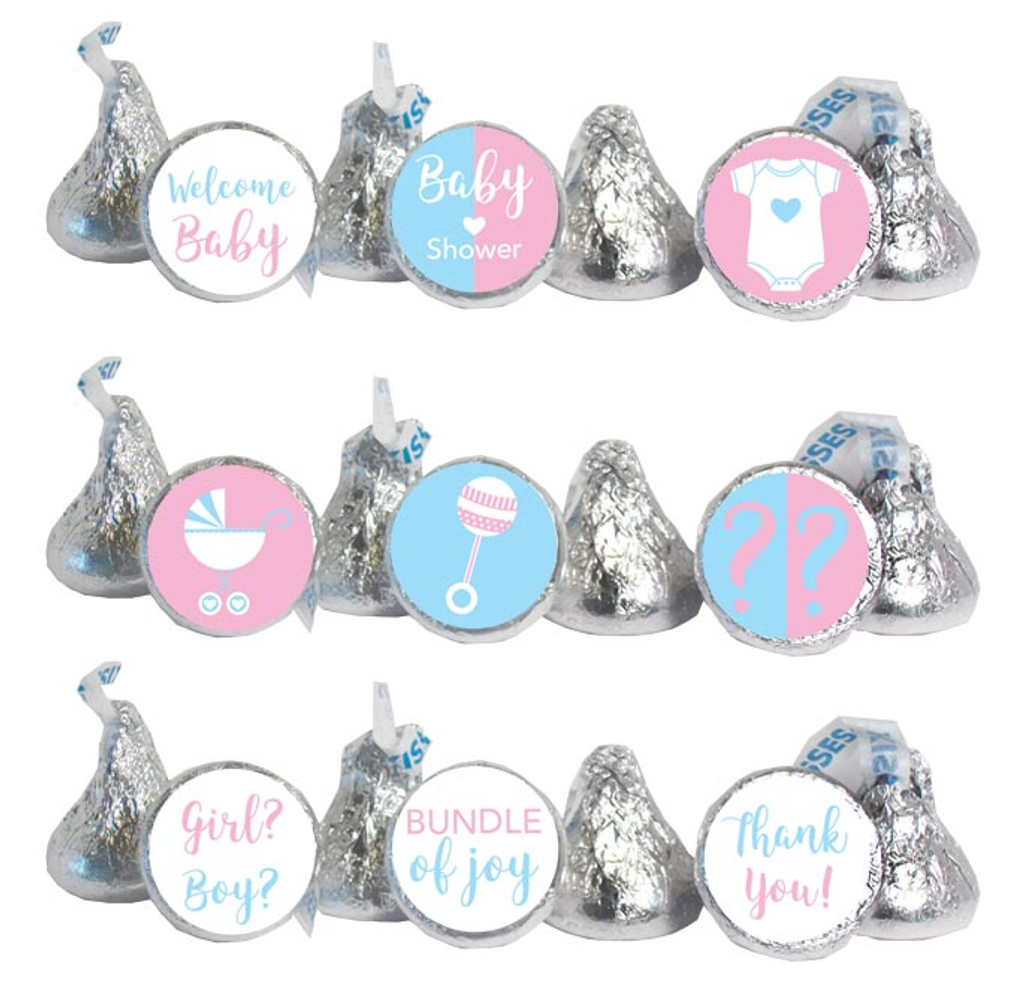 Gender reveal baby shower stickers girl or boy