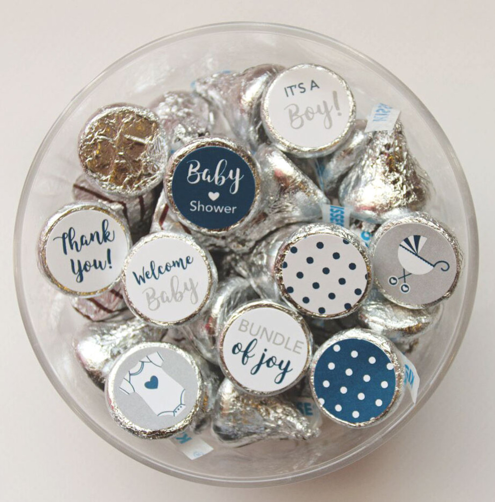 Navy and gray Baby shower favor stickers for a boy