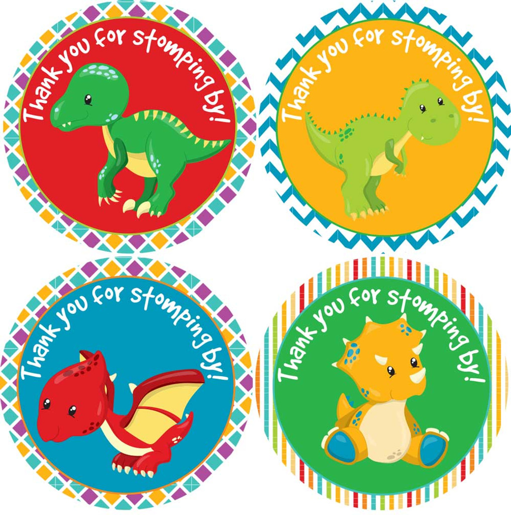 Thank you dinosaur stickers DIY baby shower favor labels