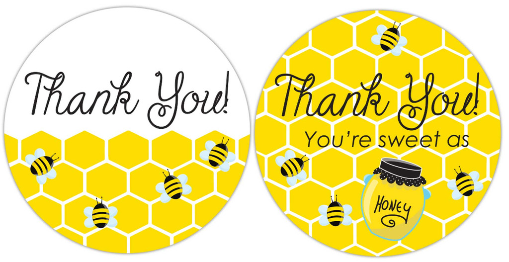 Thank you honey bee stickers DIY baby shower favor labels