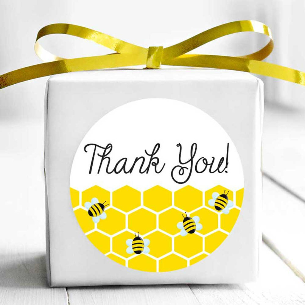 Bumble bee thank you wedding or baby shower favor stickers