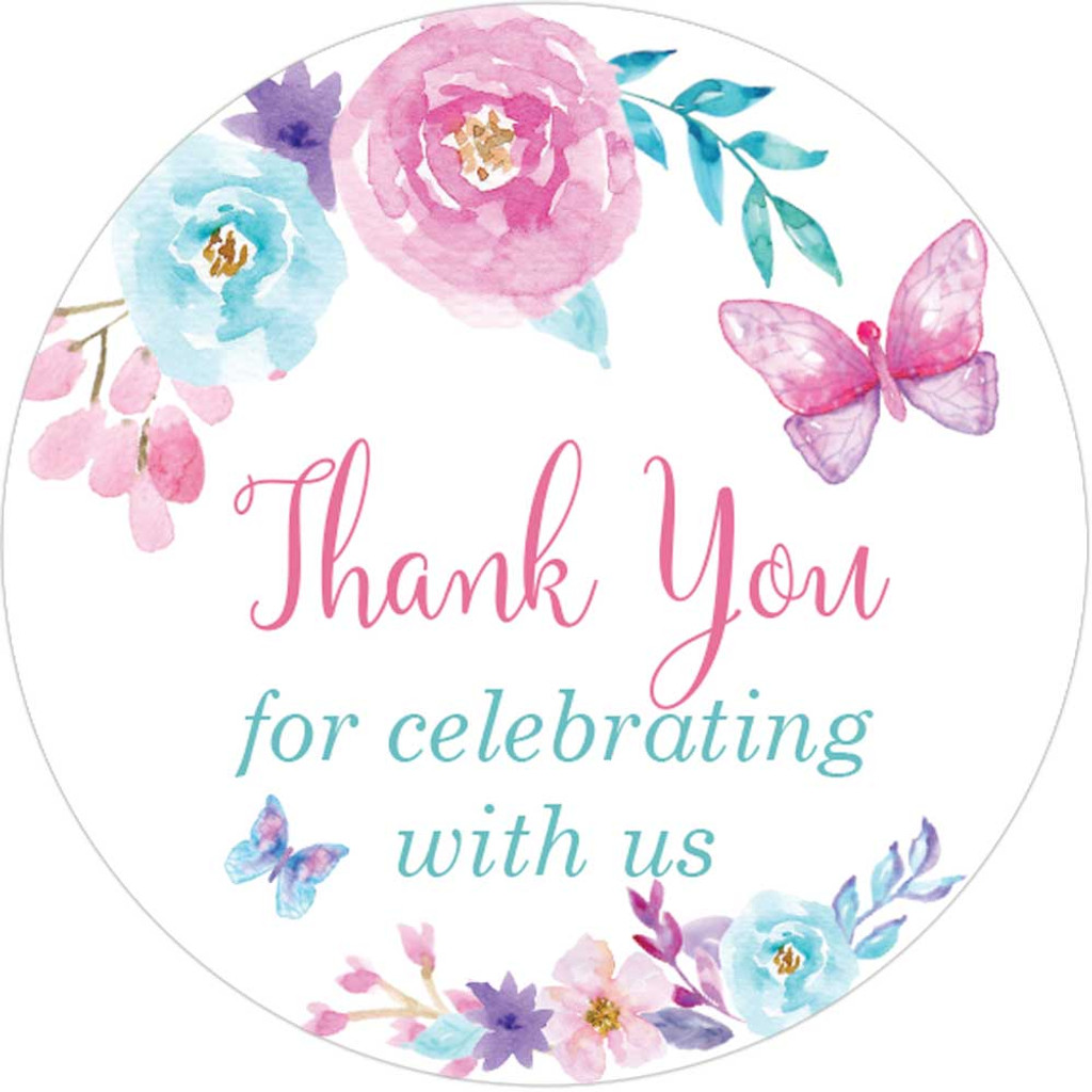 Thank you flowers & butterfly stickers DIY baby shower favor labels