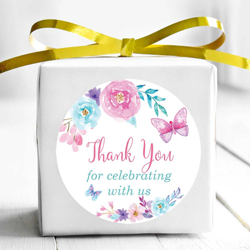 Butterfly thank you wedding and bridal shower stickers