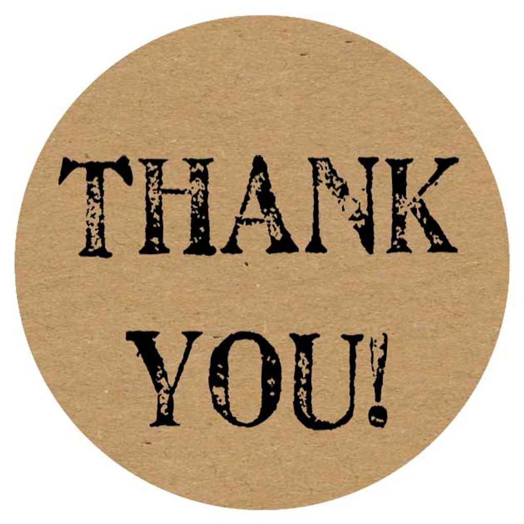 round thank you kraft stickers in artist font for business