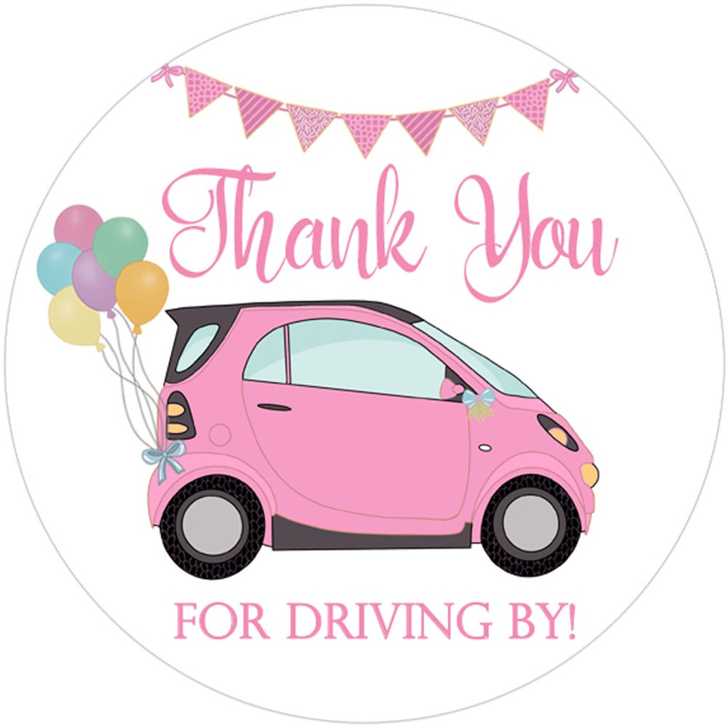 Thank you for driving by DIY baby shower favor stickers