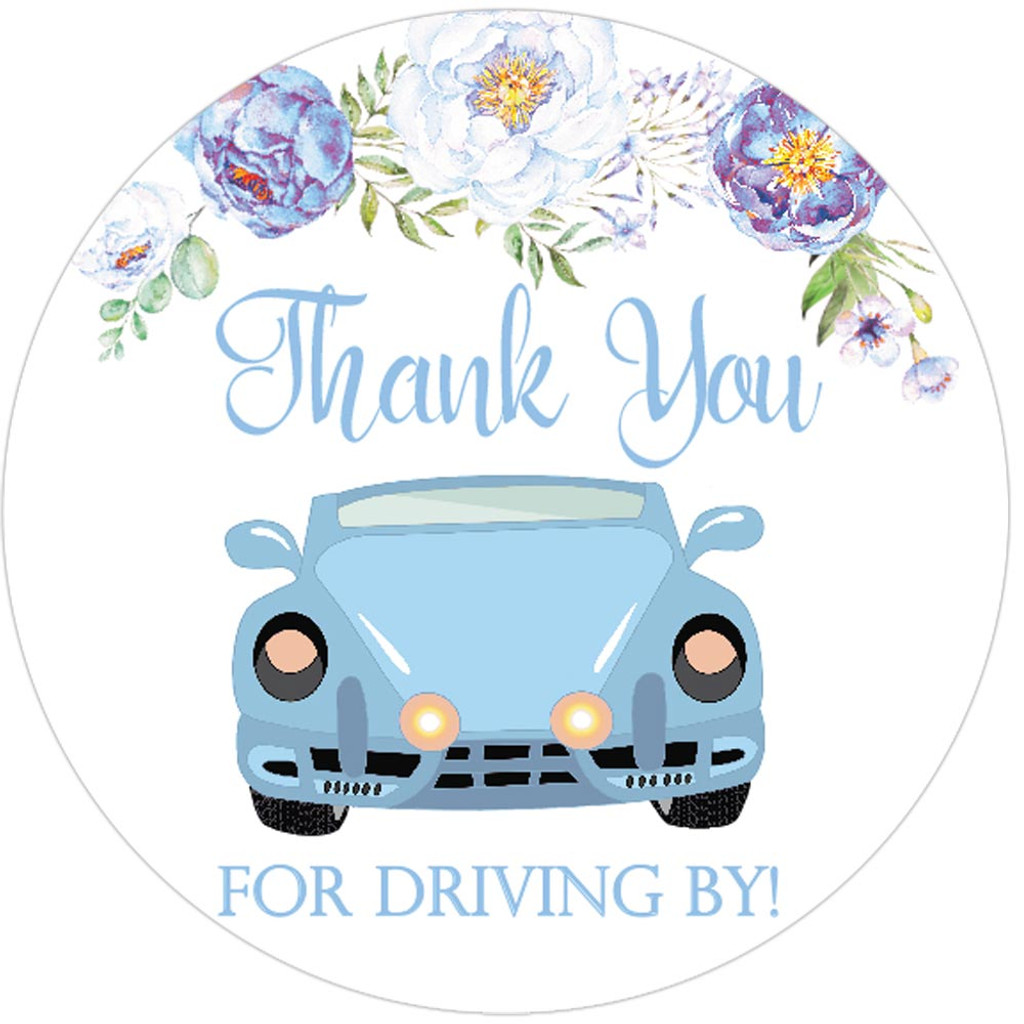 Thank you for driving by blue boy baby shower or wedding favor stickers