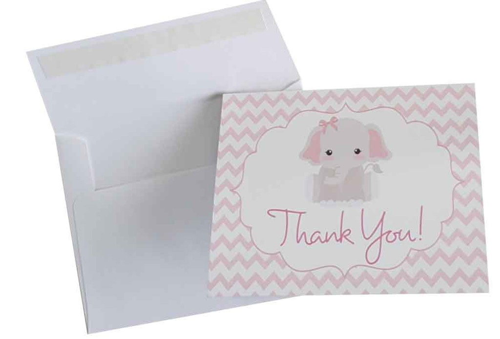Pink elephant thank you cards for girls baby shower