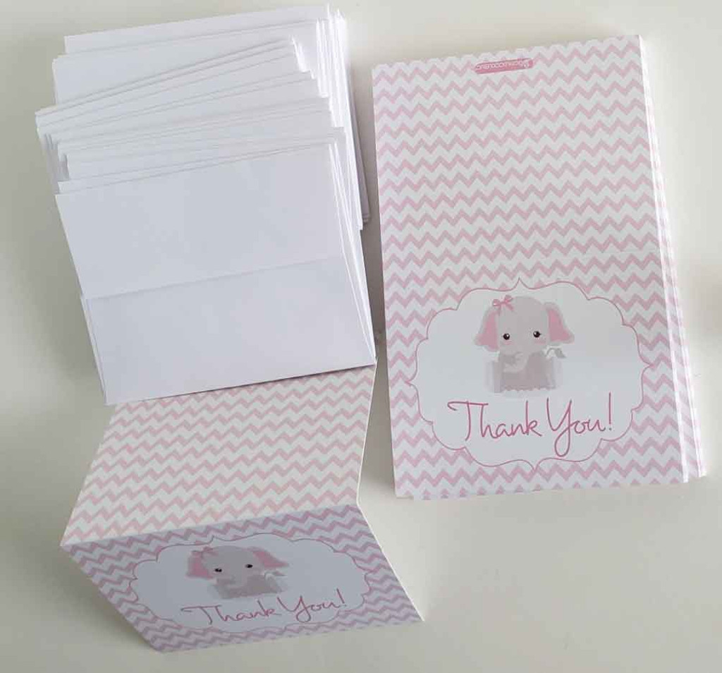 25 Thank You Cards w/ Envelopes Pink Elephant