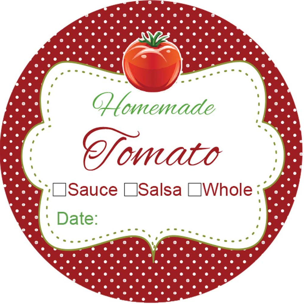 Labels for canning tomato jars