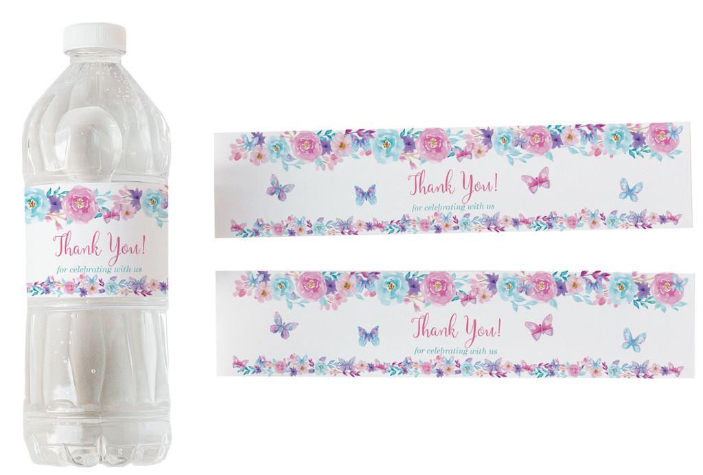 Water bottle labels Butterfly 5 stickers