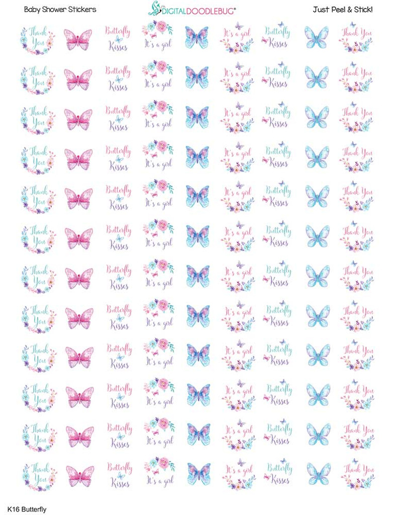 Butterfly Mini Candy Stickers 108 Labels