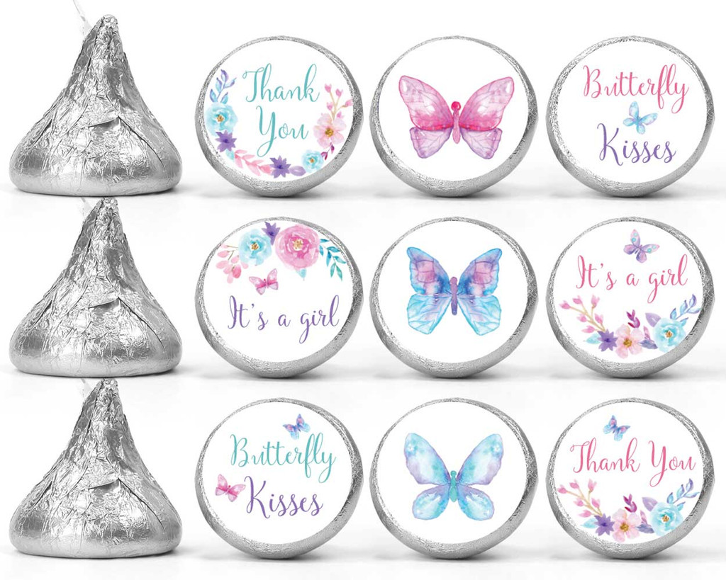 Butterfly Baby shower mini candy favor stickers for a girl