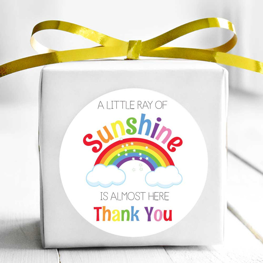 Rainbow thank you baby shower favor stickers