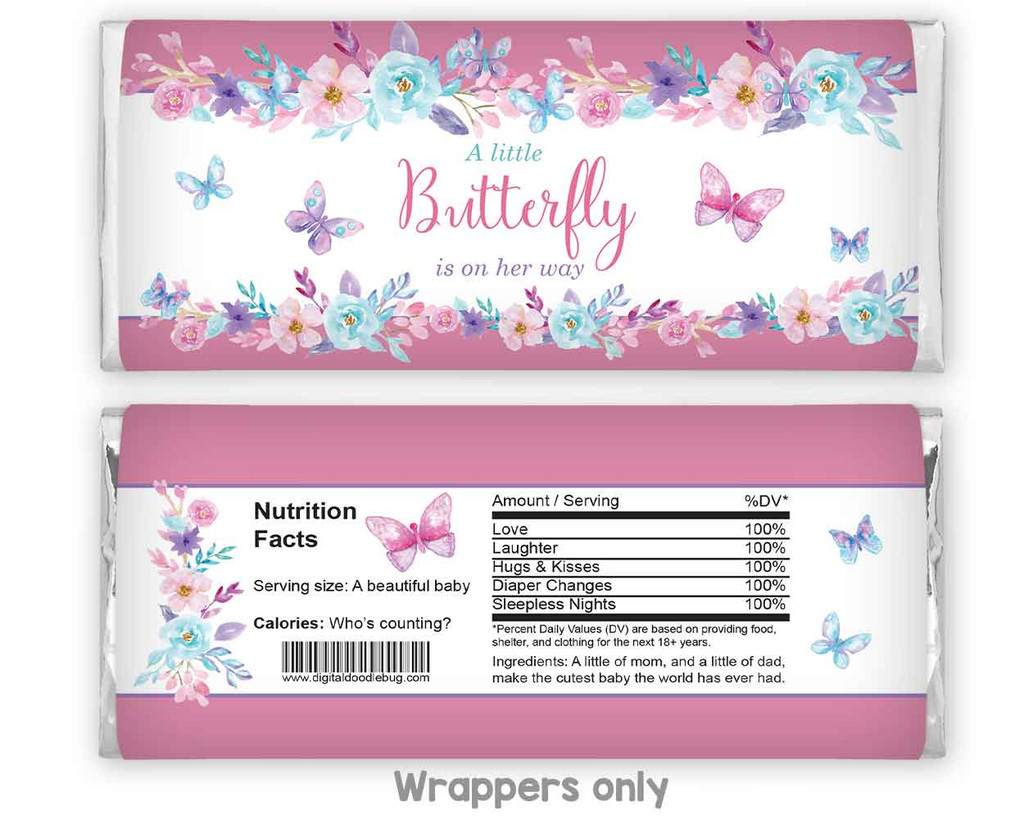 Butterfly theme chocolate candy bar wrappers baby shower favors for girl