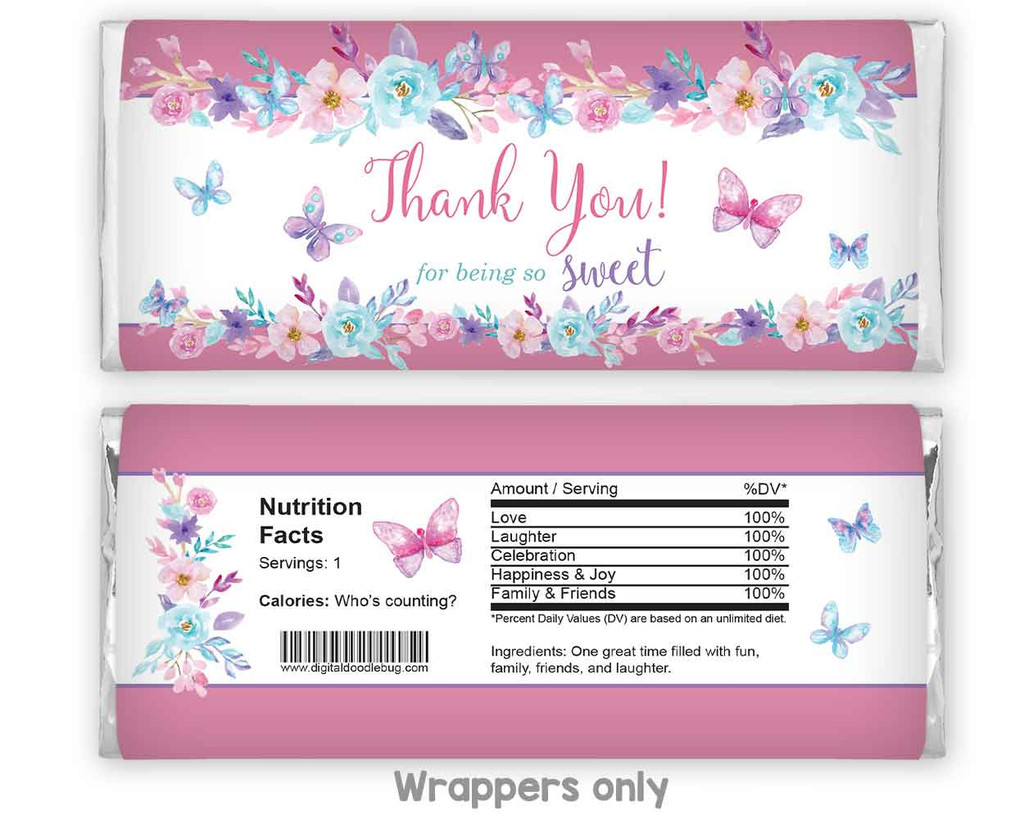 Butterfly theme chocolate candy bar wrappers bridal shower favors for girl