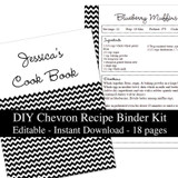 Black Chevron Printable Recipe Book Template Editable PDF