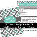 Printable Recipe Book Template Retro Turquoise Editable PDF or Corjl