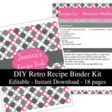 Retro Pink Printable Recipe Book Template Editable PDF