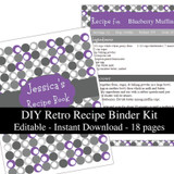 Retro Purple Printable Recipe Book Template Editable PDF