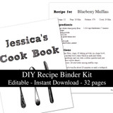 White Chalkboard Printable Recipe Book Template Editable PDF