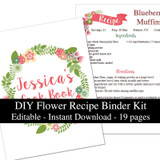 Printable Recipe Book Flower Template Editable PDF or Corjl