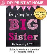 Big Sister Pink Editable Printable Poster